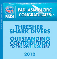 PADI award for Thresher Shark Divers 2012